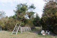 Montant en bois et une porte en bois ouverte dans la campagne photographie stock libre de droits