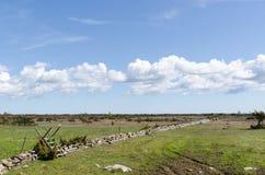 Montant en bois par un mur de pierres sèches dans la grande prairie simple Alvaret à l'île suédoise Oland image stock