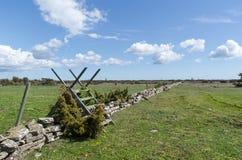 Montant en bois par une saison de mur de pierres sèches au printemps à la grande prairie simple Alvaret à l'île suédoise Oland image libre de droits