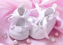 Montantes brancos Handmade do bebê Imagens de Stock