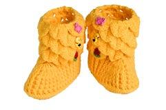 Montantes feitos malha, amarelos para crianças Imagens de Stock