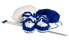 Montantes feitos malha, azuis para crianças Imagens de Stock Royalty Free