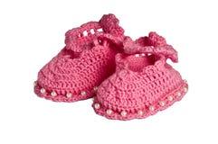 Montantes feitos malha, cor-de-rosa para crianças Fotos de Stock