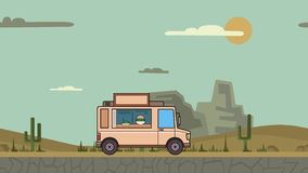 Montar a caballo animado del camión de la comida a través del desierto del barranco Vehículo móvil en fondo del paisaje Animación almacen de video