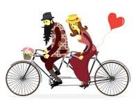 Montar a caballo cariñoso de los pares en una bicicleta Pares que montan un isola de la bicicleta libre illustration