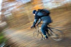 Montar a caballo de la bicicleta en un parque de la ciudad Foto de archivo libre de regalías