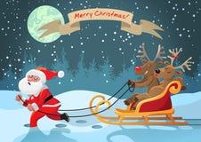Montar a caballo de los ciervos de Rudolph con una novia con Santa Claus Fotos de archivo
