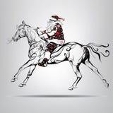 Montar a caballo de Santa Claus en un caballo Foto de archivo libre de regalías