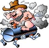 Montar a caballo del cerdo en un barril del Bbq
