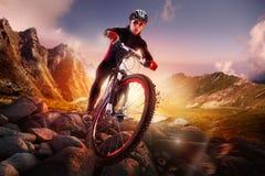 Montar a caballo del ciclista de la bici de montaña Imágenes de archivo libres de regalías