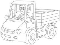 Montar a caballo del conductor de camión stock de ilustración