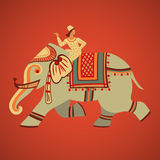 Montar a caballo del elefante stock de ilustración