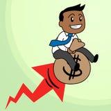 Montar a caballo del hombre en un bolso del dinero stock de ilustración
