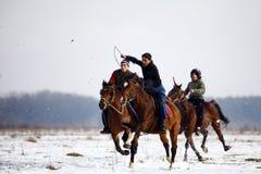 Montar a caballo del invierno Imagenes de archivo