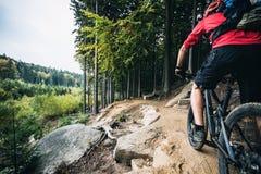 Montar a caballo del motorista de la montaña que completa un ciclo en bosque del otoño Imágenes de archivo libres de regalías