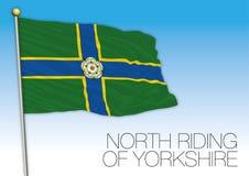 Montar a caballo del norte de la bandera de Yorkshire, Reino Unido Imágenes de archivo libres de regalías