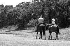 Montar a caballo del padre y del hijo Fotos de archivo