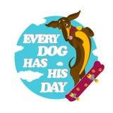 Montar a caballo del perro basset Imágenes de archivo libres de regalías