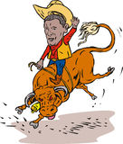 Montar a caballo del toro del vaquero del rodeo de Obama