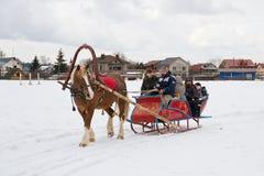 Montar a caballo del trineo - diversión nacional rusa Foto de archivo libre de regalías