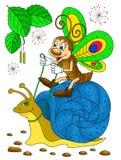 Montar a caballo divertido de la mariposa en un caracol Imagen de archivo