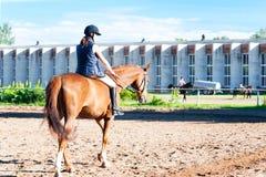 Montar a caballo ecuestre del adolescente a caballo en el lugar de la escuela de montar a caballo Fotografía de archivo libre de regalías
