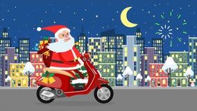 Montar a caballo feliz de Santa Claus en un ciclomotor sobre la ciudad de la noche stock de ilustración