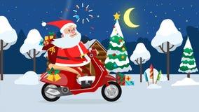 Montar a caballo feliz de Santa Claus en un ciclomotor a través del bosque del invierno ilustración del vector
