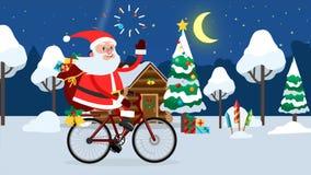 Montar a caballo feliz de Santa Claus en una bicicleta a través del bosque del invierno stock de ilustración