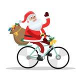 Montar a caballo lindo divertido de Santa Claus en la bici ilustración del vector