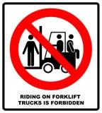Montar em caminhões de empilhadeira é símbolo proibido Sinais de saúde e segurança no trabalho Não monte na empilhadeira Ilustraç ilustração do vetor