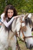 Montar un caballo de granja Fotografía de archivo