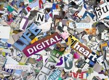 Montasge de letras y de palabras en la vida digital solarixed m del colr Imagenes de archivo