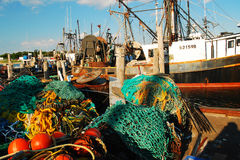 Montauk Commercial Fishing Harbor Royalty Free Stock Images