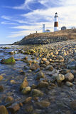 Montauk Light Rocky Shore Stock Images