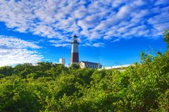 Montauk Lighthouse. Lighthouse in Montauk Point New York Captured In Early Morning Sun Royalty Free Stock Images