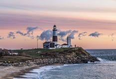 Montauk Point Light, Lighthouse, Long Island, New York, Suffolk royalty free stock photos