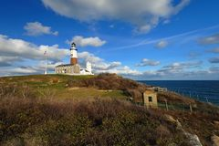 Montauk Point Lighthouse. A view of Montauk point lighthouse royalty free stock photo