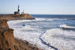 Montauk Point Lighthouse and the Atlantic Ocean Stock Images