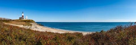 Montauk Point State Park Lighthouse, Long Island, NY. Panoramic view on Montauk Point State Park Lighthouse and the Atlantic Ocean. Long Island, New York State Stock Photo