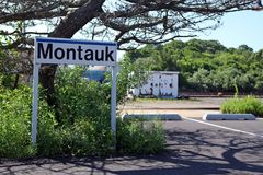 Montauk Travel. A sign for the Long Island Railroad Train Station in Montauk, NY Stock Photo