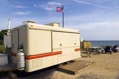 Montaukfood furgonu plaża obraz royalty free