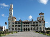 The Montaza Palace, Alexandria, Egypt. Near the center of city next to rocky beach stands a beautiful palace stock images