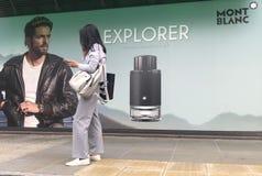 Montblanc πίνακας διαφημίσεων εξερευνητών στην οδό του Λονδίνου στοκ φωτογραφία με δικαίωμα ελεύθερης χρήσης