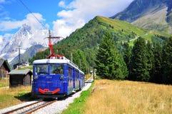 Montblanc τροχιοδρομική γραμμή, κραμπολάχανο Haute, Γαλλία Στοκ φωτογραφία με δικαίωμα ελεύθερης χρήσης