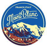 MontBlanc in Alps, France, Italy outdoor adventure badge. Higest mountain in Europe illustration. MontBlanc in Alps, France, Italy outdoor adventure badge Royalty Free Stock Images
