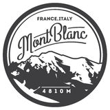 MontBlanc in Alps, France, Italy outdoor adventure badge. Higest mountain in Europe illustration. Stock Image