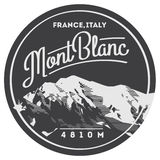 MontBlanc in Alps, France, Italy outdoor adventure badge. Higest mountain in Europe illustration. MontBlanc in Alps, France, Italy outdoor adventure badge Royalty Free Stock Photography
