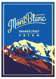 MontBlanc in Alps, France, Italy outdoor adventure poster. Higest mountain in Europe illustration. Royalty Free Stock Photo