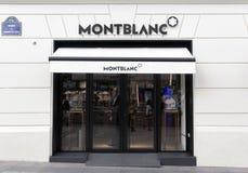 Montblanc lager på Champset-Elysees Arkivfoton